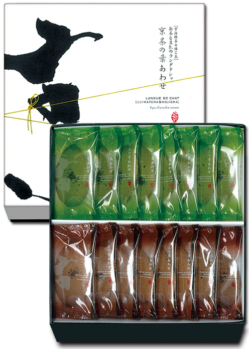 Kyocha No Haawase (Assortment of Matcha ・Hoji Tea Flavor) Green Tea and Soybean Milk Flavored Langue de chat 16 pieces 【Gion Sakai】