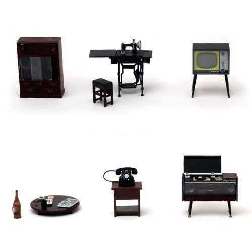 Set 6 points living room of Showa Retro Miniature