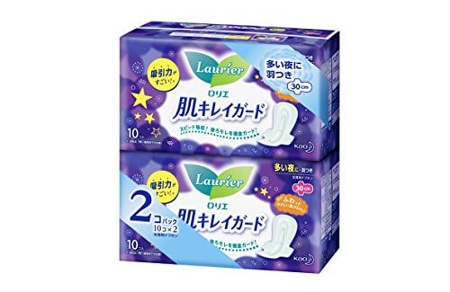 Laurier Clean Skin Guard Night Sanitary Napkins - Wings (10 Pads, 2 Packs)