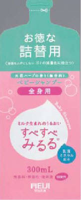 "Meiji ""Sube Sube Miruru"" Baby Whole Body Shampoo Refill - 300ml"