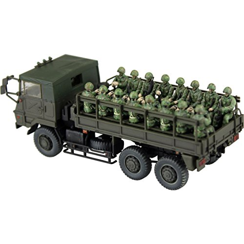 Aoshima Bunka Kyozai 1/72 Military Model Series No.12 Ground Self-Defense Force Type-73 heavy-duty truck 3t and a half ride personnel 20 body set Plastic
