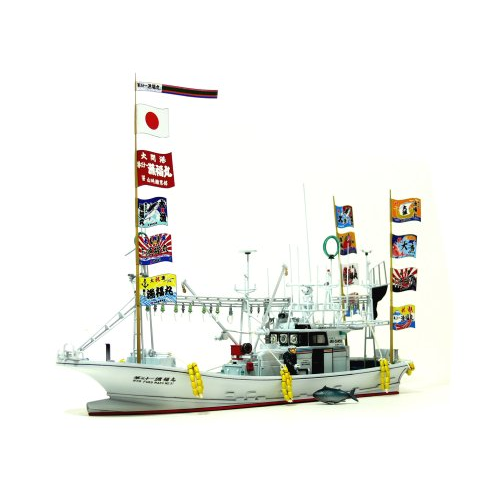 Aoshima Bunka Kyozai 1/64 fishing boat No.01 Oma tuna pole and line fishing boat thirty-first fishing Fukumaru waterline model