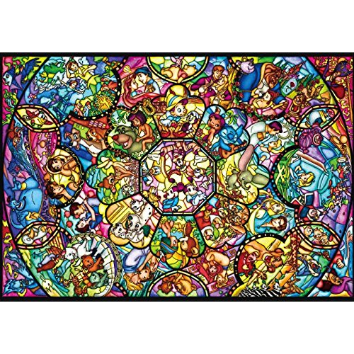 Disney Stained Glass Puzzle.266 Piece Jigsaw Puzzle Disney Characters Pure White All Star Stained Glass Tightly Series 18 2x25 7cm