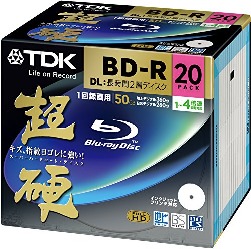 Blu-ray disc Carbide Series TDK recording BD-R DL 50GB 1-4 speed white wide printable 20 pack of 5mm slim case BRV50HCPWB20A