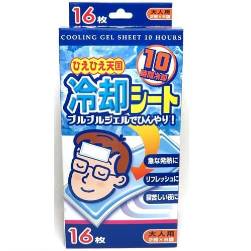 """Hiehie Tengoku"" Cooling Gel Sheet for Adults - 10 Hours (16 Sheets)"
