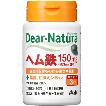 Dear-Natura heme iron with 2 kinds of support vitamins (30 tablets)