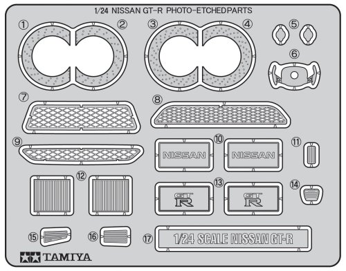 Tamiya Detail Up Parts Series No.23 1/24 NISSAN GT-R Etching Parts