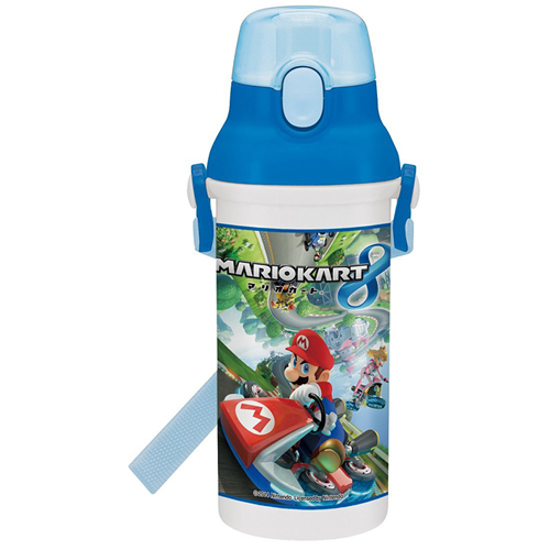 Skater straight drinking water bottle plastic one-touch bottle 480ml Mario Kart 8 Mario Brothers PSB5SAN