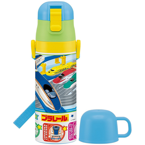 [Water bottle] direct bottle 470ml with ultra-lightweight 2WAY cup [Plarail 16 / SKDC4]
