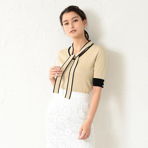 [LOVELESS] WOMEN 2WAY bowtie half sleeve knit
