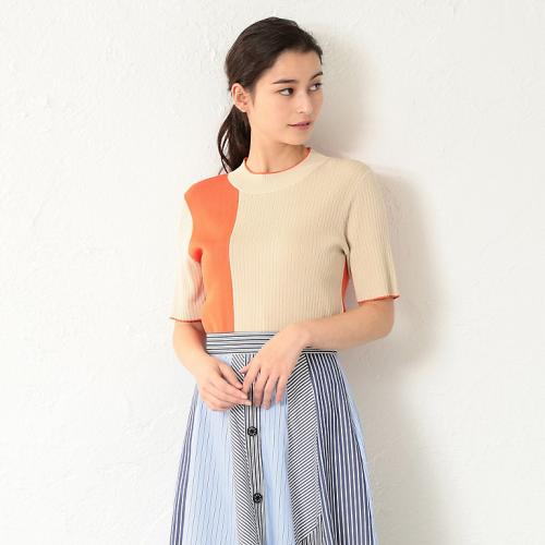 [LOVELESS] WOMEN Asymmetric pattern half sleeve knit