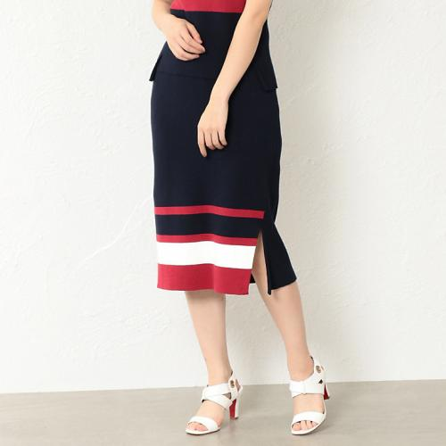 [LOVELESS] WOMEN tricolor knitted fabric changes skirt