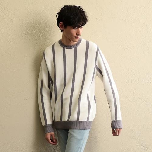 [GUILD PRIME] MEN Milan stripe pullover knit