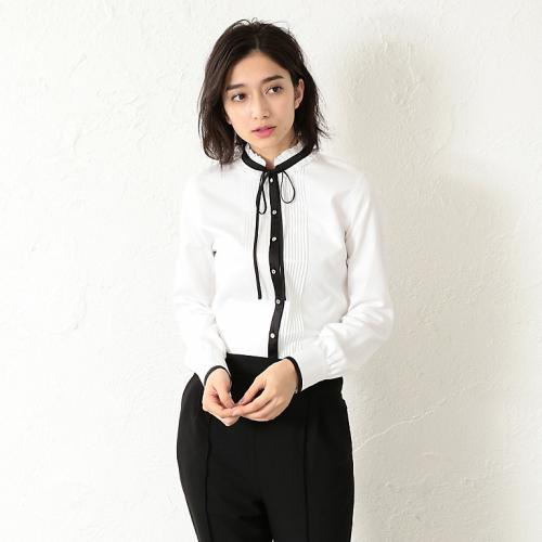 [GUILD PRIME] WOMEN pin tuck ribbon blouse