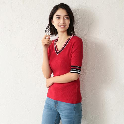 [GUILD PRIME] WOMEN half sleeve line V-neck knit