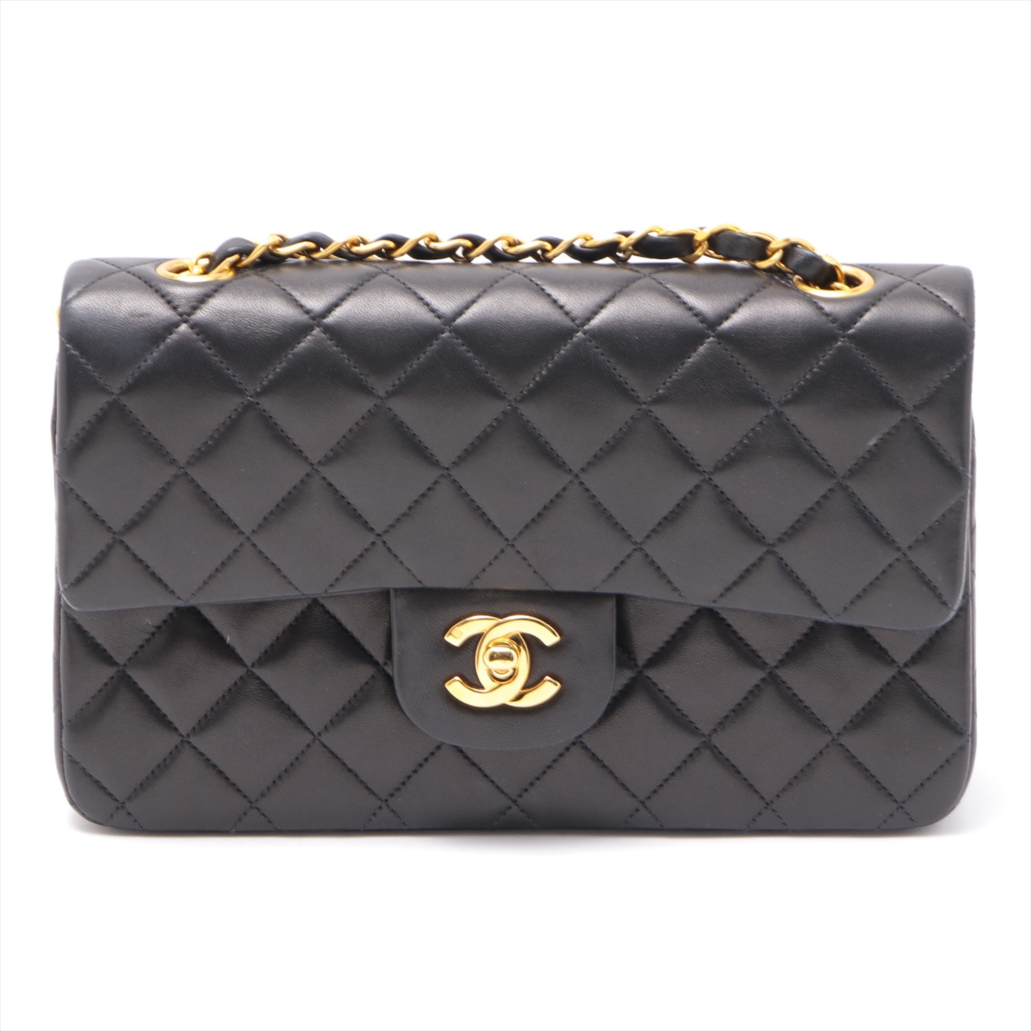 [Used goods] Chanel Matorasse lambskin double flap double chain Bag Black Gold Hardware