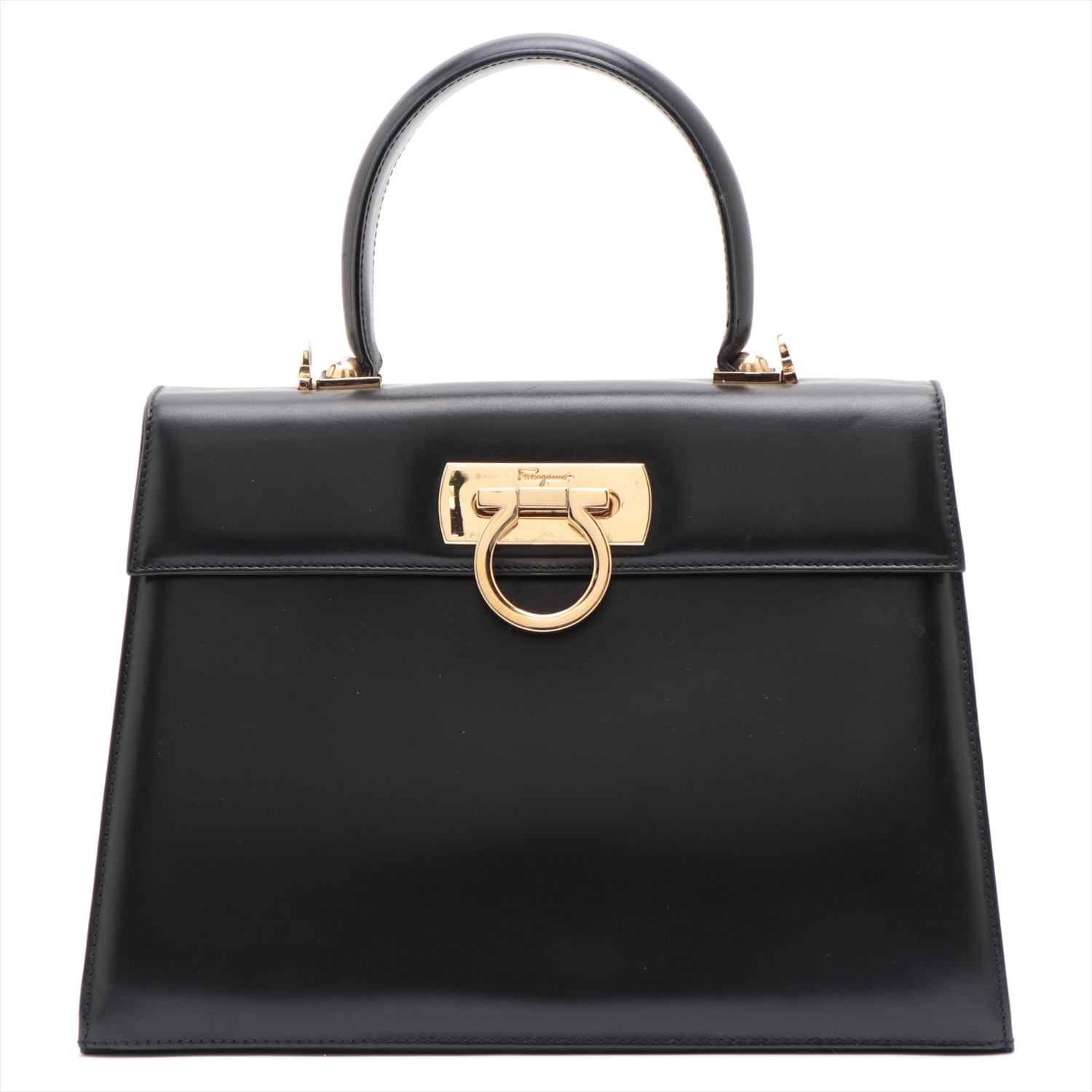 [Used article] Ferragamo Ganchini vintage leather 2WAY handbag black
