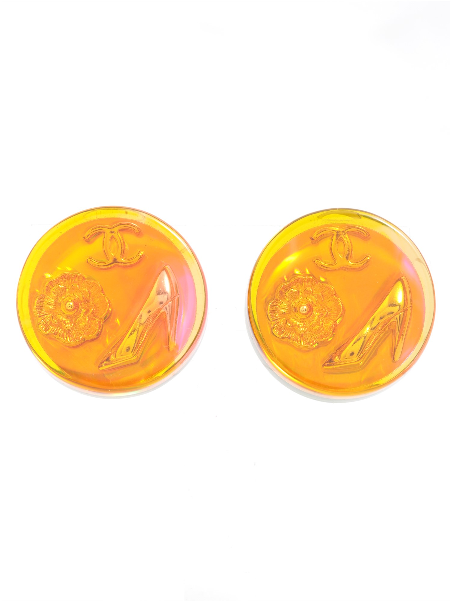 [Used goods] Chanel round earrings (for both ears) plastic yellow green 97A