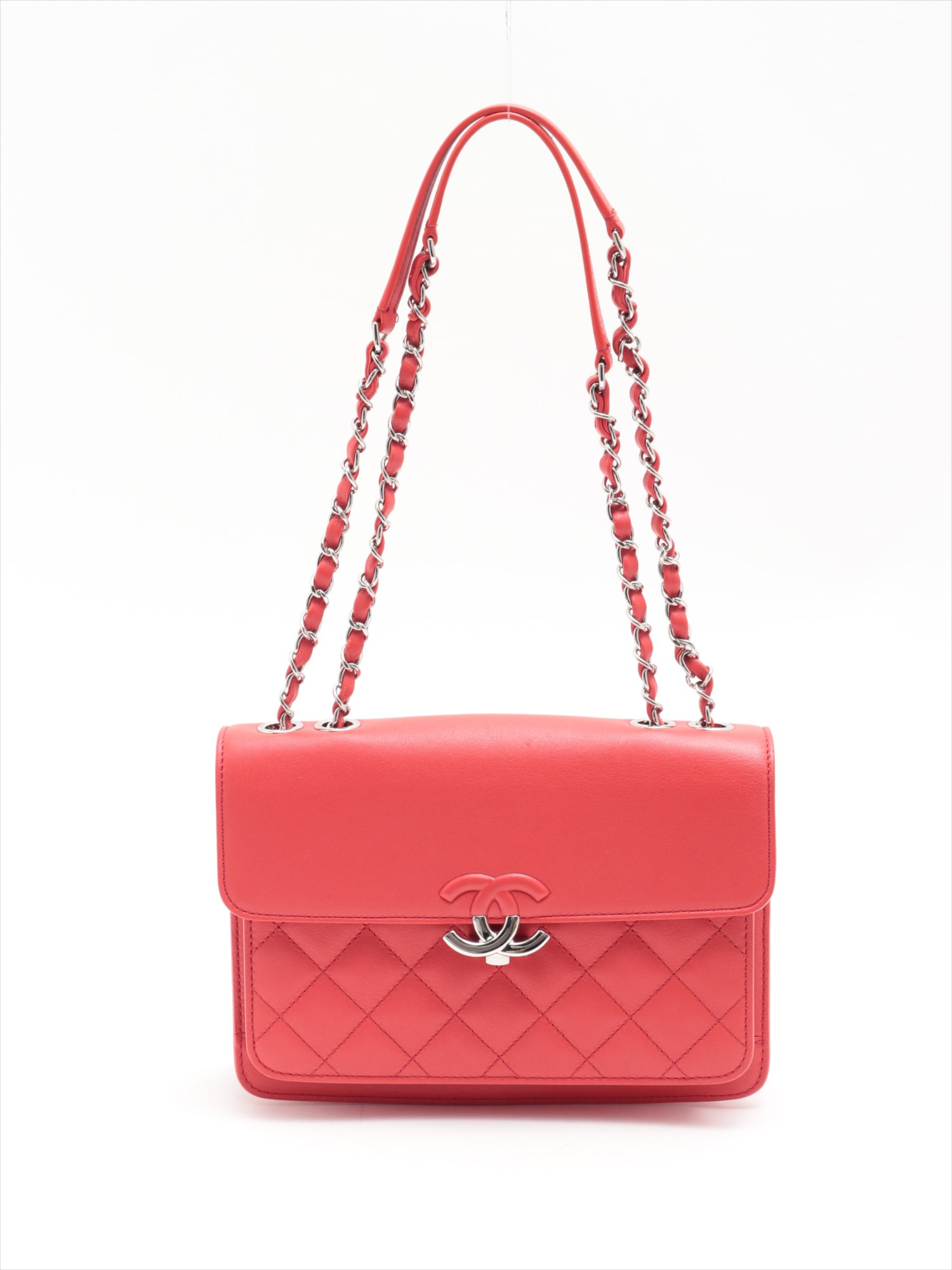 [Used goods] Chanel Matorasse leather single flap double chain bag Red Silver hardware 25 series