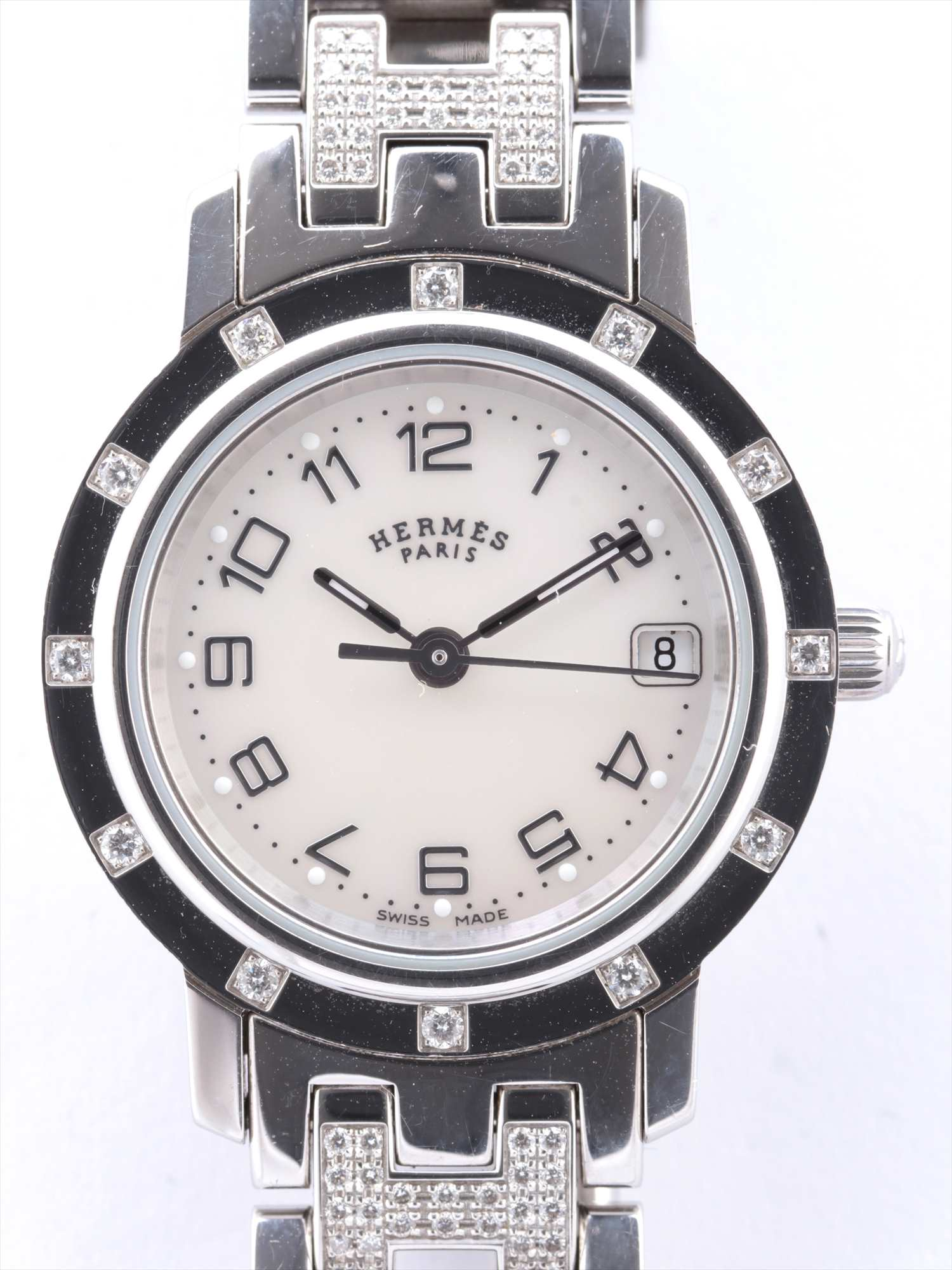 [Used goods] Hermes Clipper nacres CL4.230 SS QZ shell dial too much sesame seeds 1 paved diamond bezel 12PD