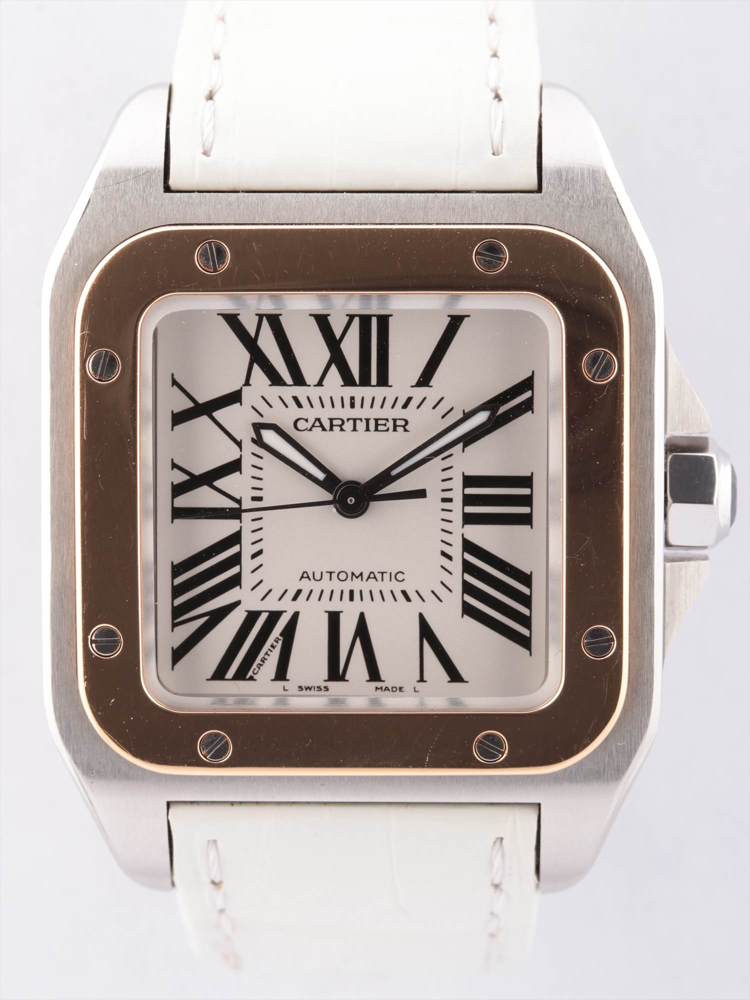 [Used article] Cartier Santos 100MM 2878 YG × leather AT white dial too Gomanashi