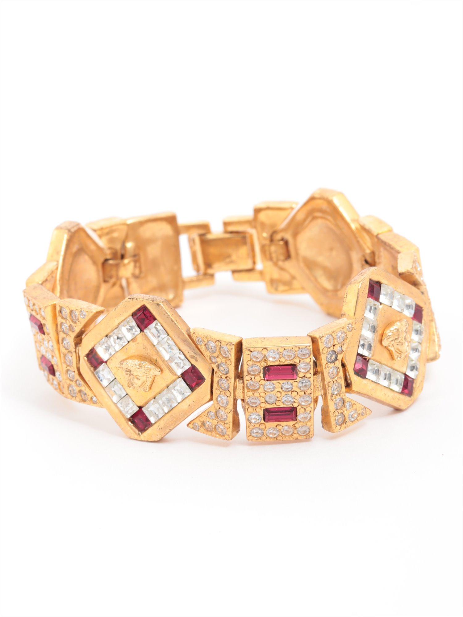 [Used article] Versace Medusa bracelet GP gold rhinestone