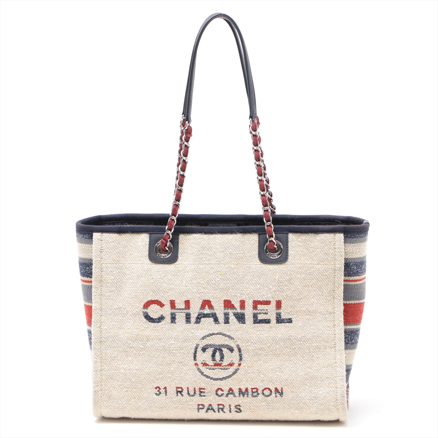 [Used goods] Chanel Deauville canvas × leather chain Tote Bag Beige Silver hardware