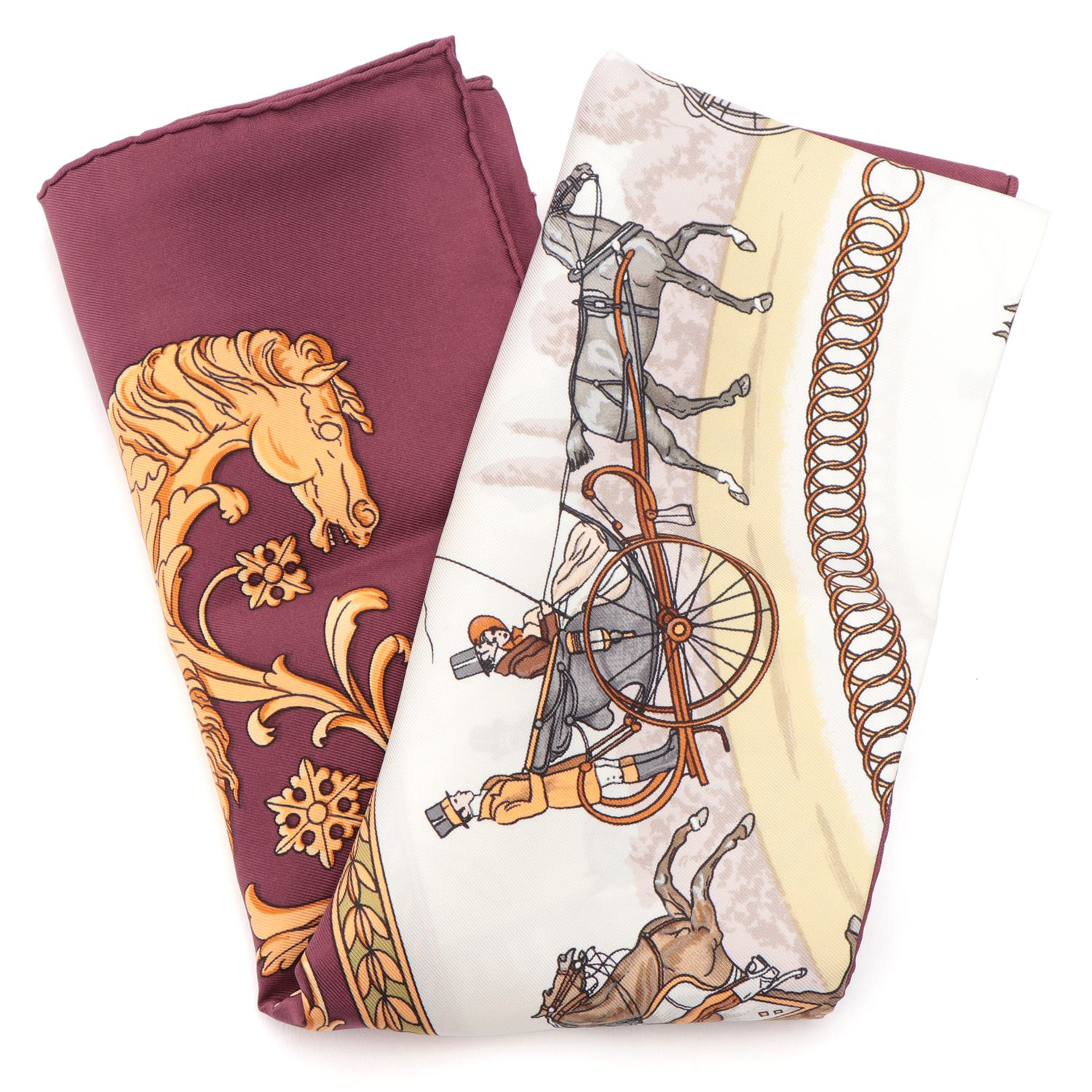 [Used goods] Hermes Carre 90 scarf 90 × 90 walk to the Silk Bordeaux LA PROMENADE DE LONGCHAMPS Longchamp