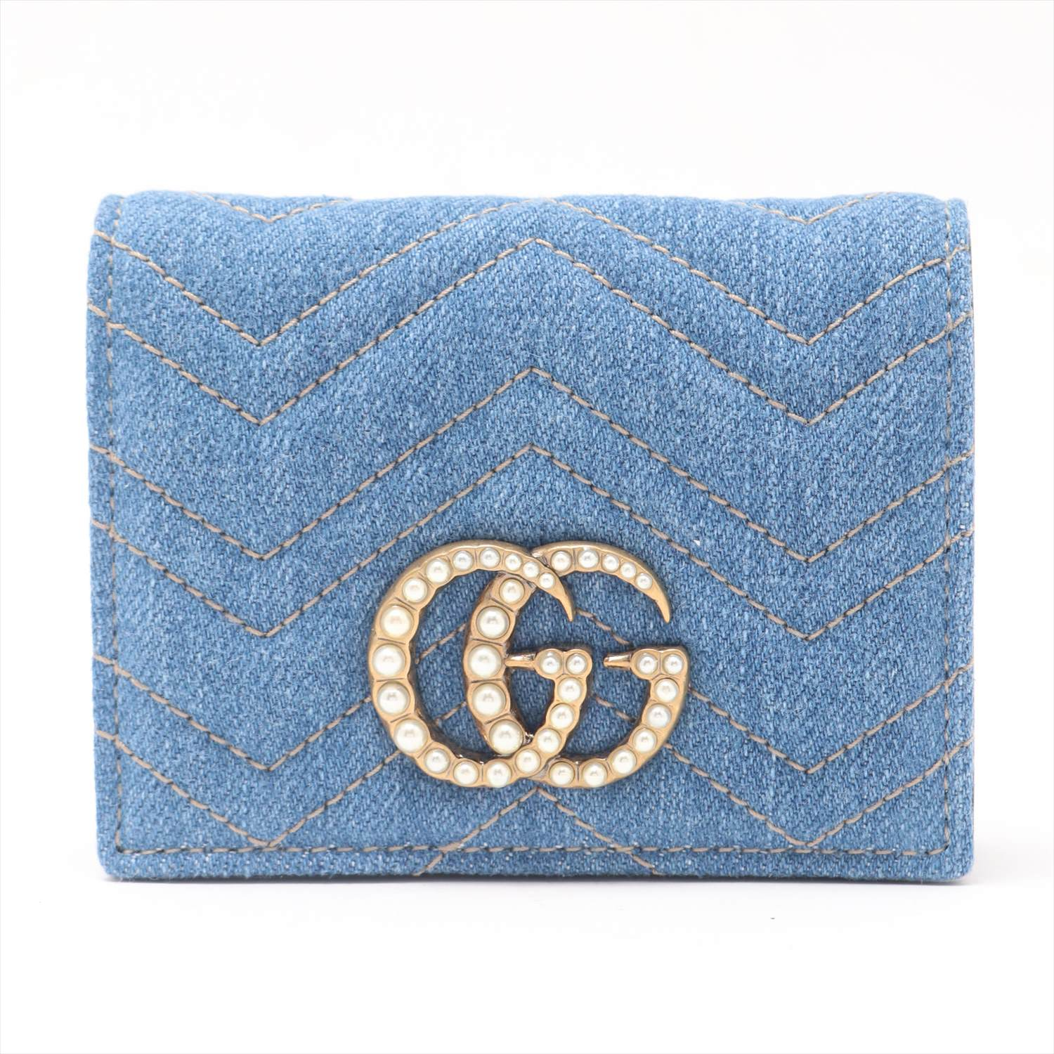 [Used goods] Gucci GG Marmont denim purse light blue two-fold 466 492 - 525 040