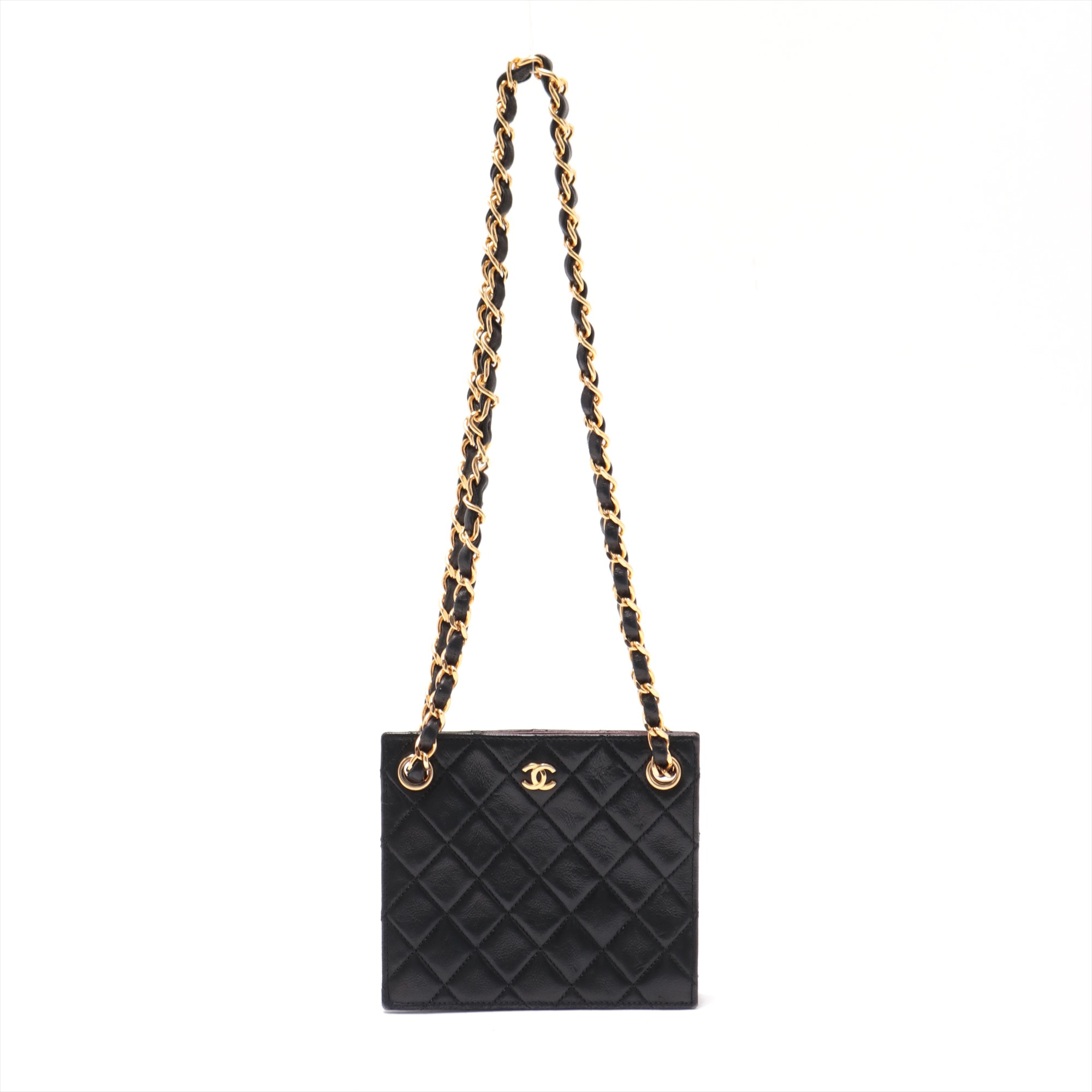 [Used goods] Chanel Matorasse lambskin chain shoulder bag mini shoulder double chain single flap Black Gold Hardware 0 Series