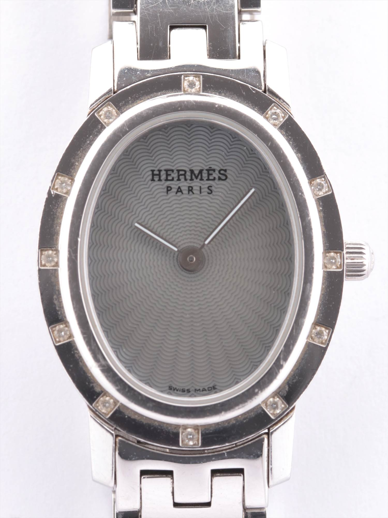 [Used goods] Hermes SS QZ Silver Dial much Gomanashi Clipper Oval bezel 12P diamond