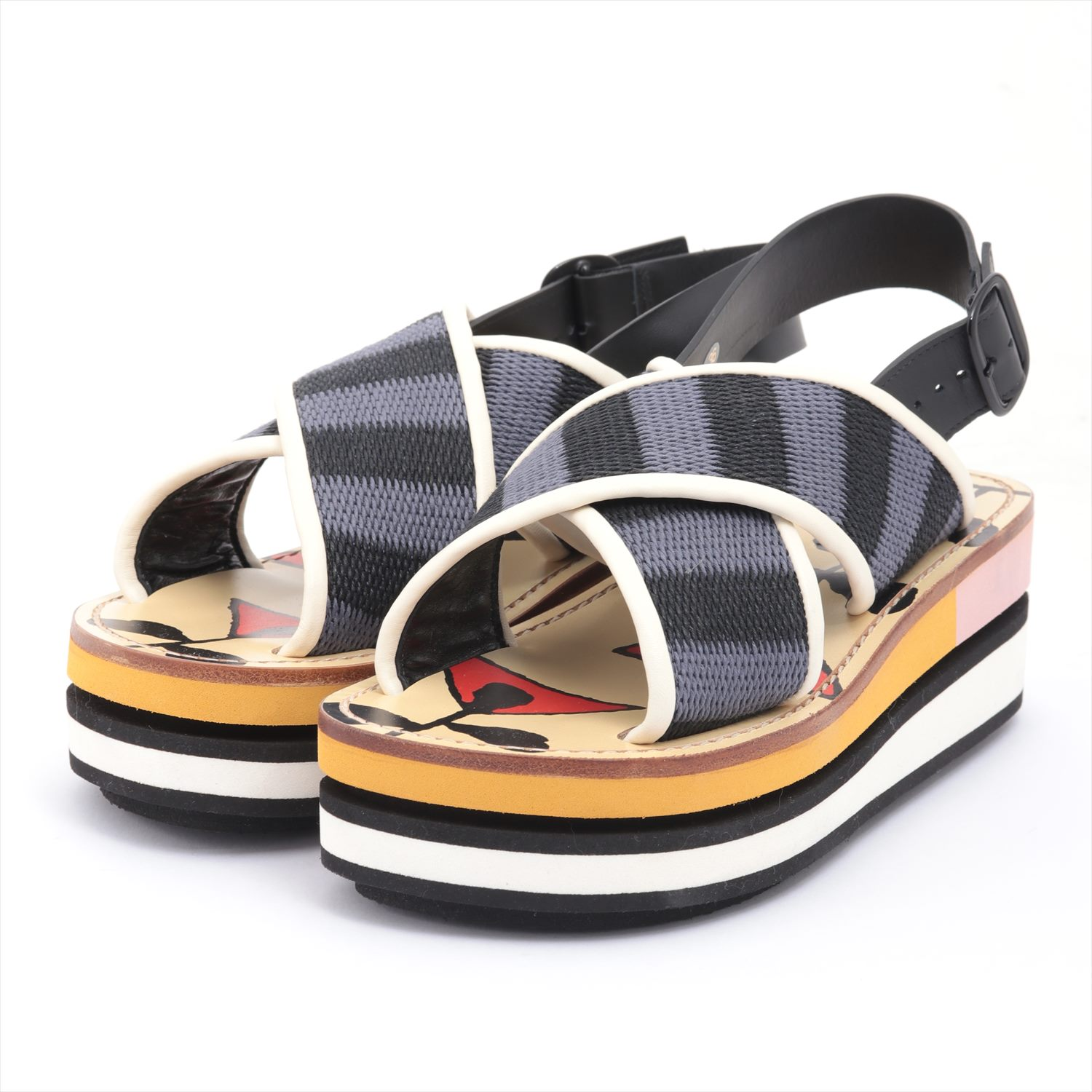 [Used article] Marni leather sandals 36 Women's multi-colored platform with a platform box