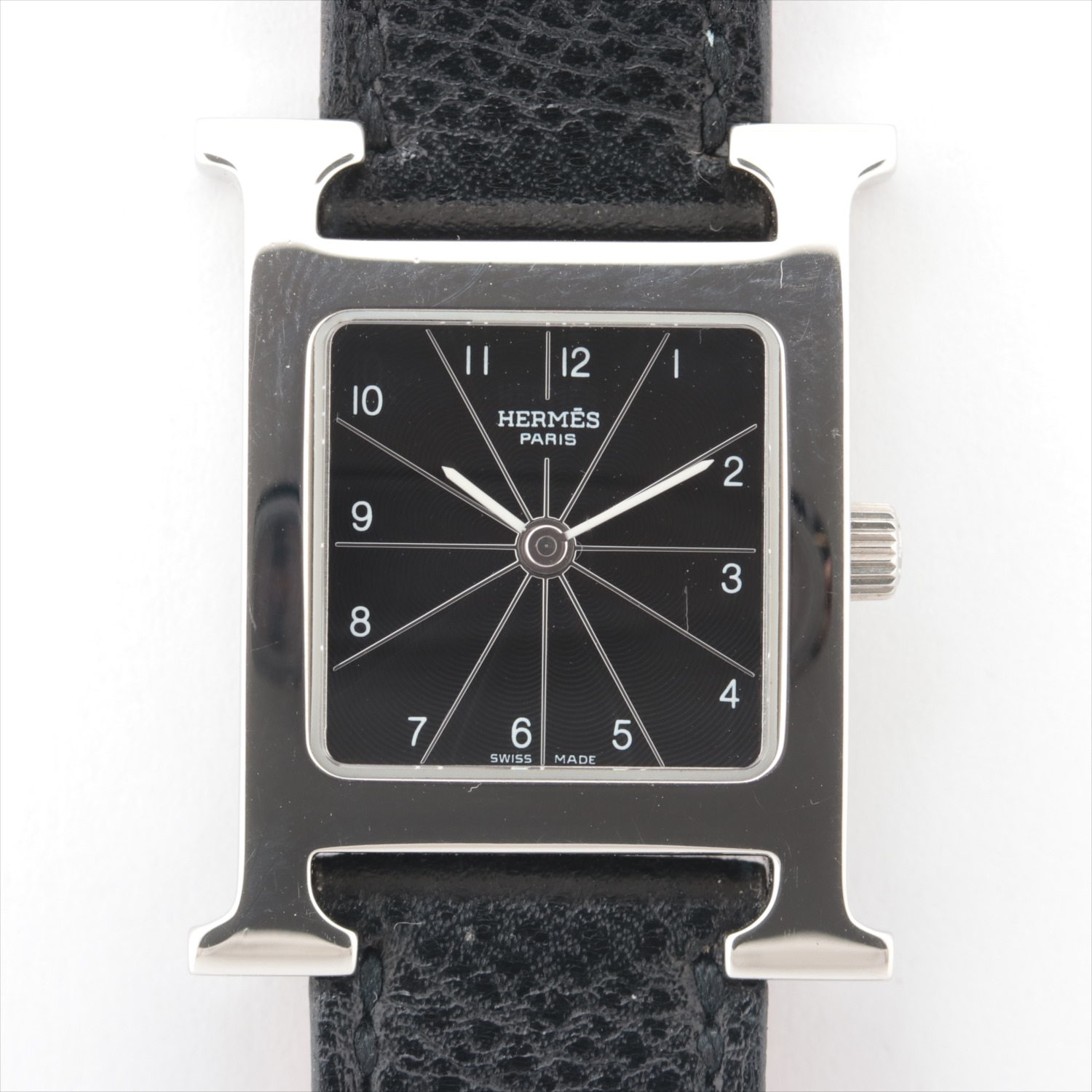 [Used goods] Hermes H watch HH1.210 SS × leather QZ black board
