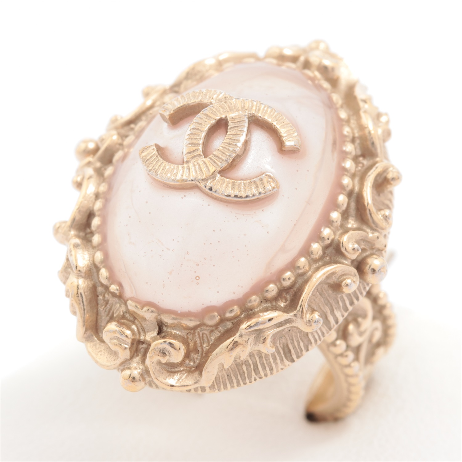[Used goods] Chanel ring No. 10 metal material gold B13C pink color stone