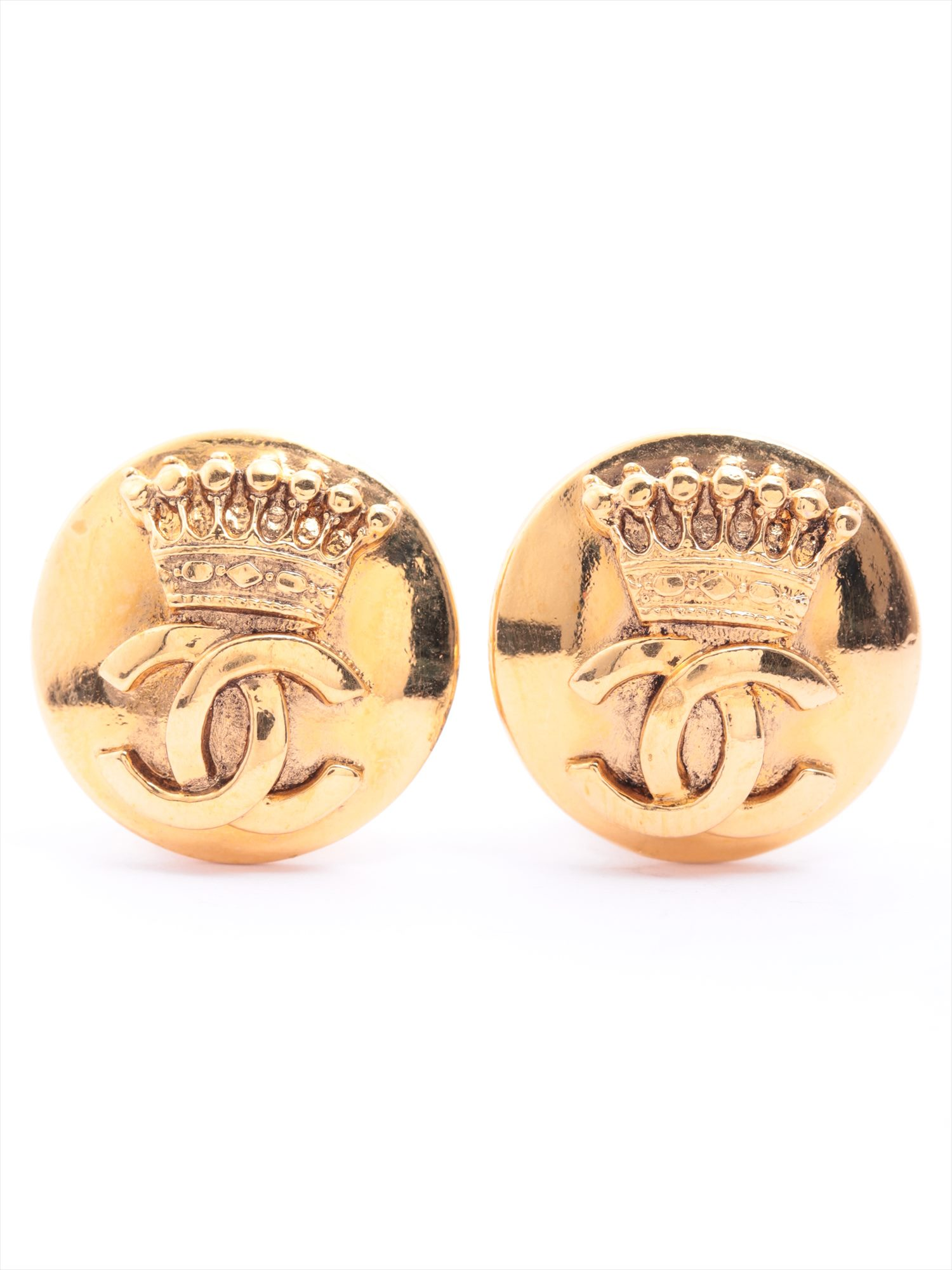 [Used goods] Chanel Coco mark earrings (for both ears) GP Gold Crown 96A
