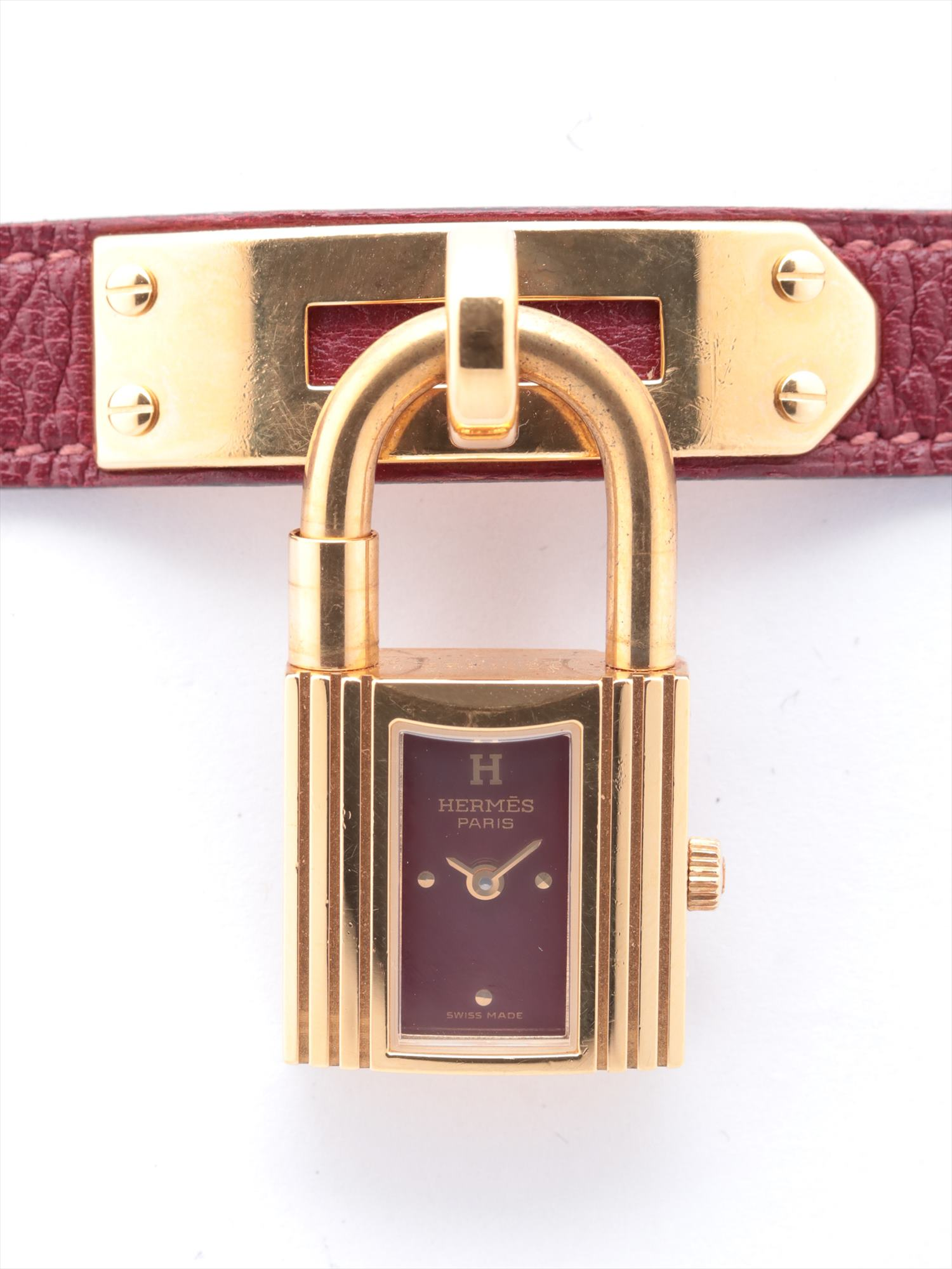[Used goods] Hermes Kelly Watch GP × leather QZ red dial too Gomanashi Bordeaux A stamp (1997)