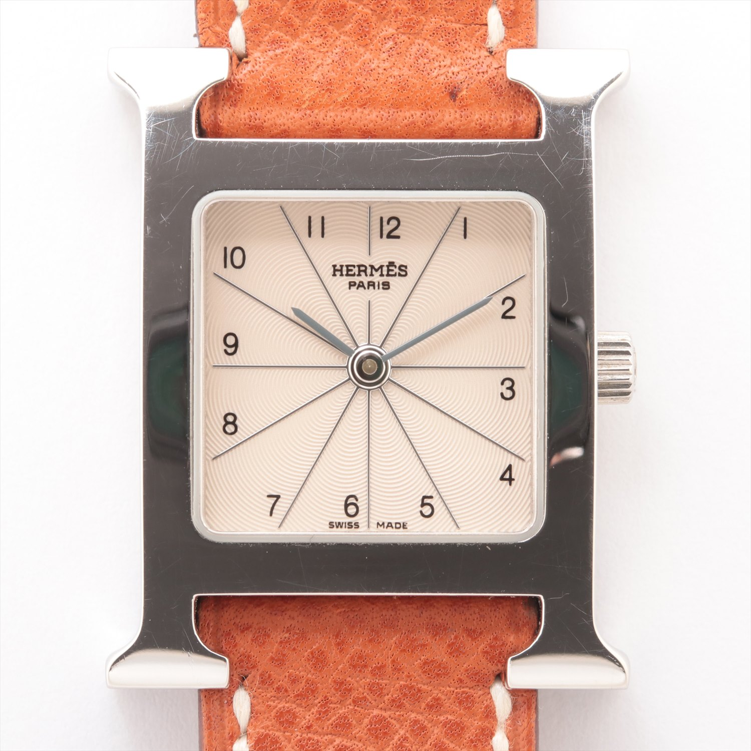 [Used goods] Hermes H watch HH1.210 SS × leather QZ white dial