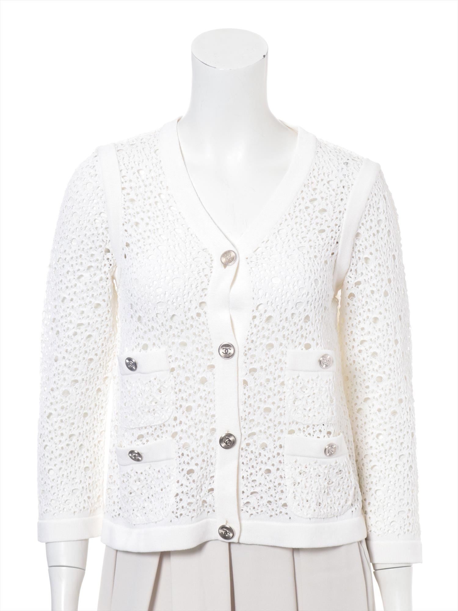 [Used goods] Chanel cotton cardigan size: 38 Ladies white lace nylon