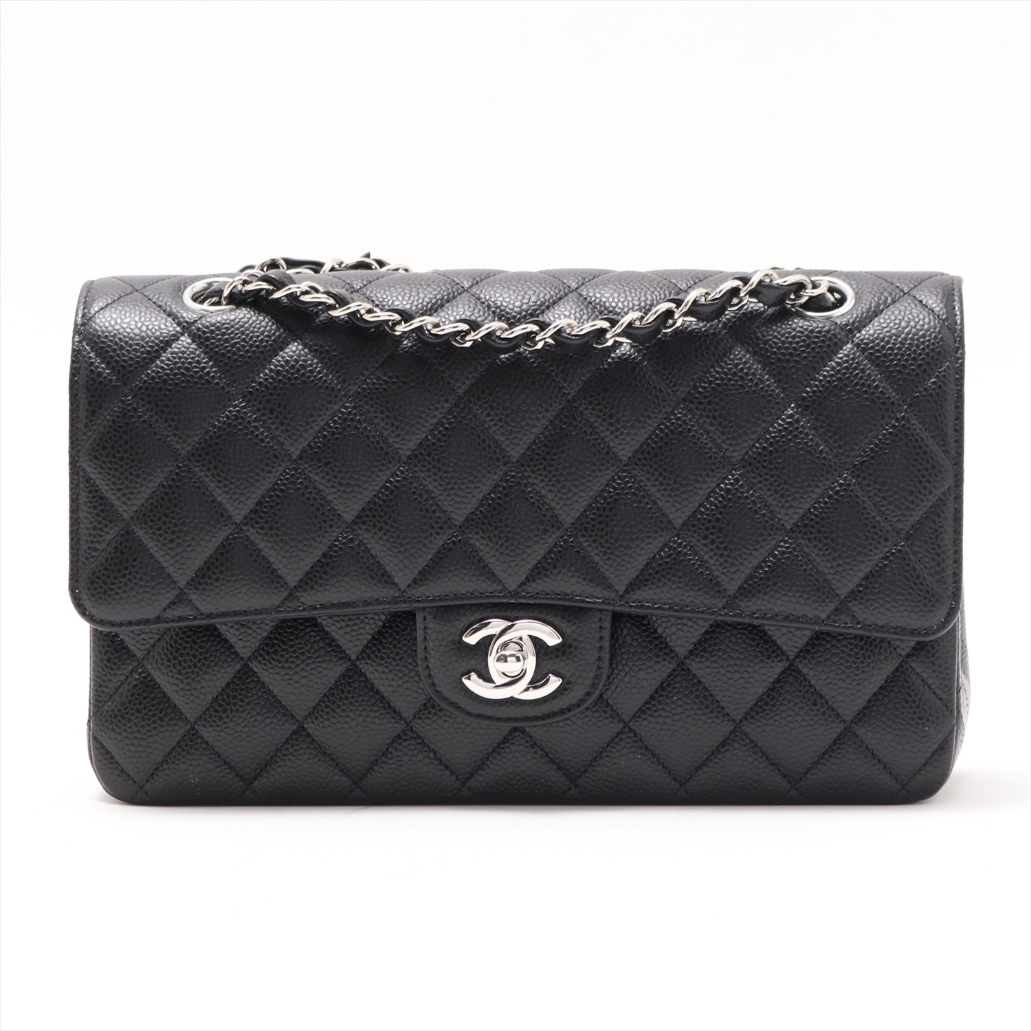 [Used goods] Chanel Matorasse caviar skin double flap double chain bag black Silver hardware 26 series