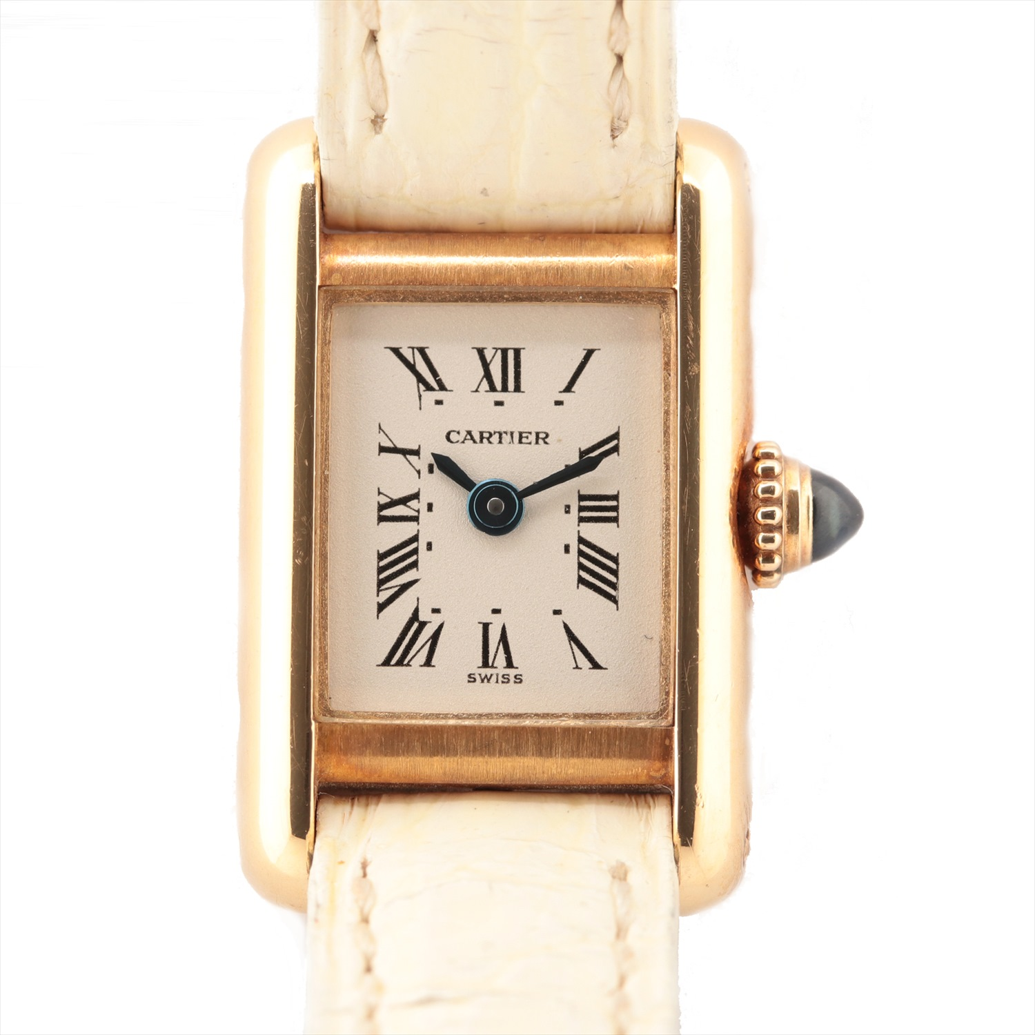[Used article] Cartier mini tank YG × leather QZ white dial