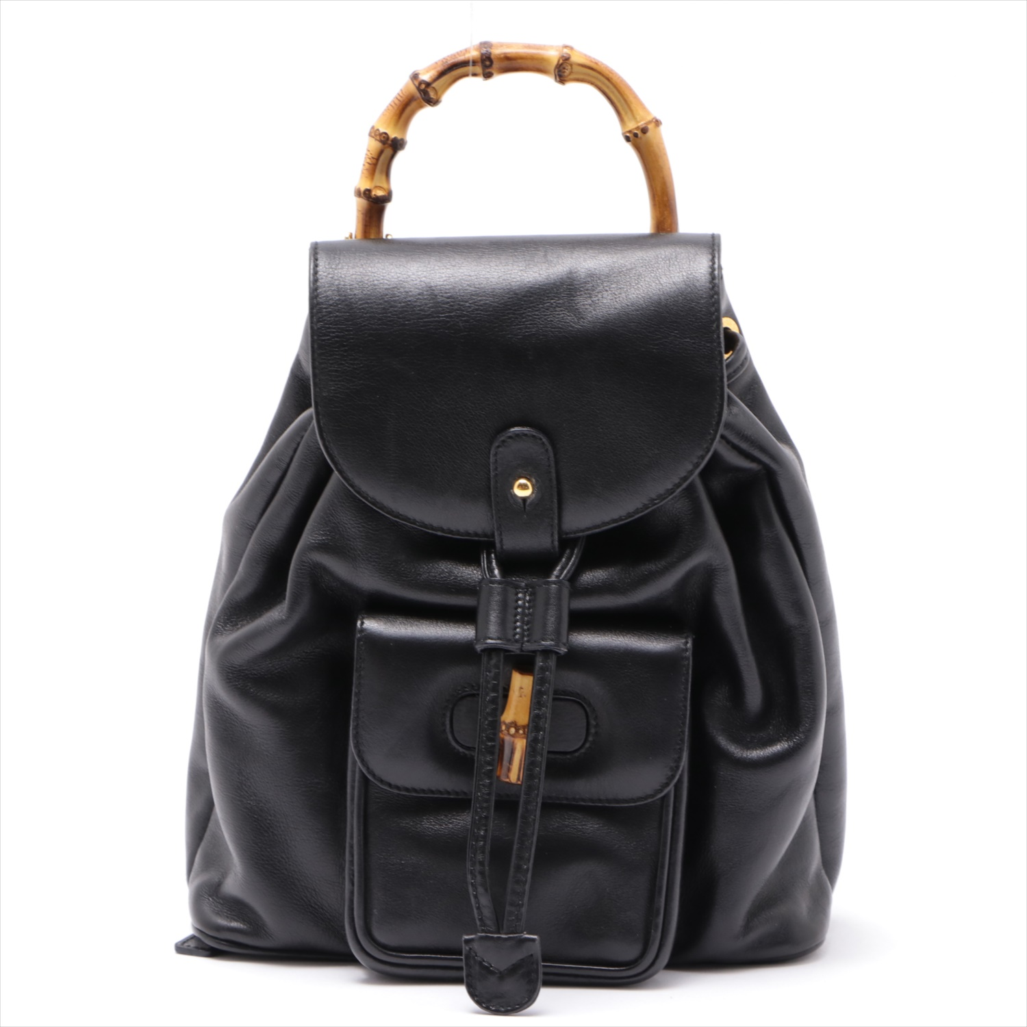 [Used goods] Gucci Bamboo vintage leather backpack black
