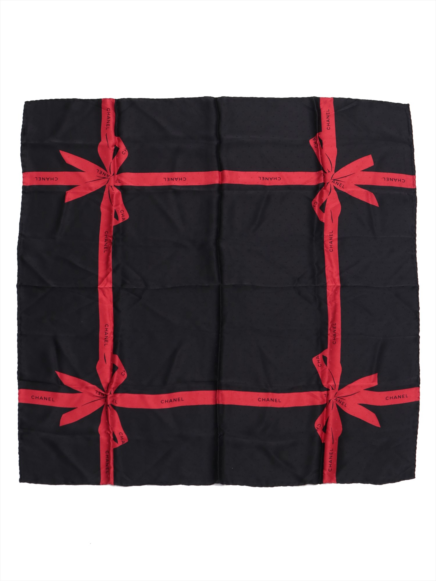 [Used goods] Chanel scarf silk black ribbon pattern