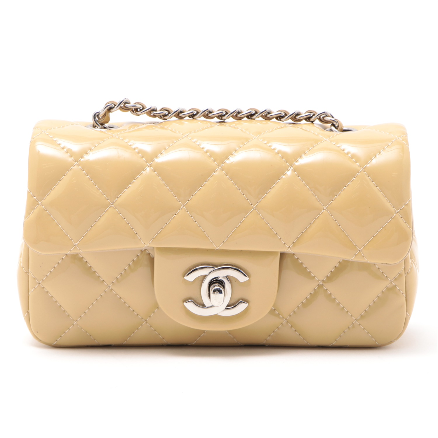 [Used goods] Chanel mini Matorasse patent leather chain shoulder bag Beige Silver hardware