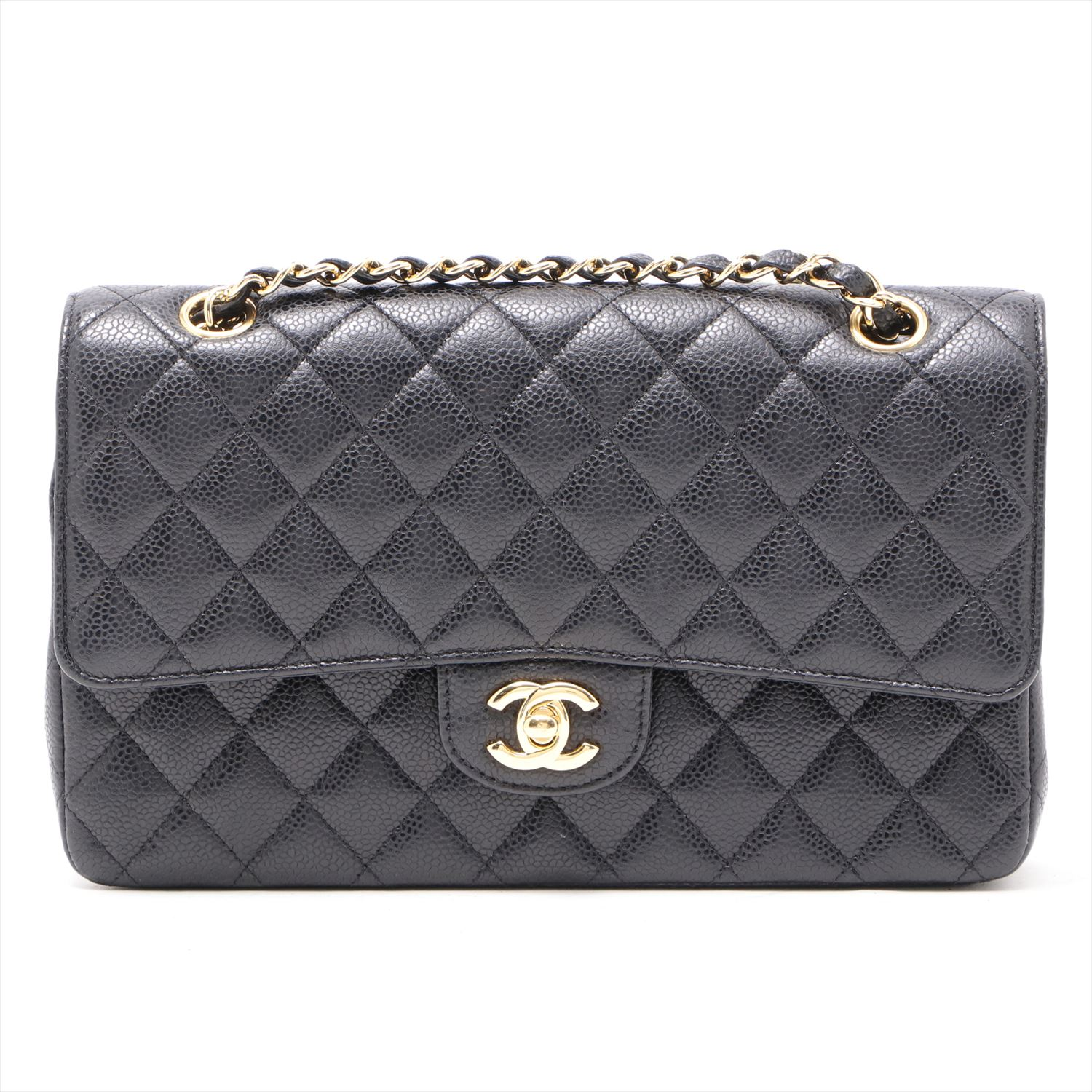 [Used goods] Chanel Matorasse caviar skin double flap double chain Bag Black Gold Hardware
