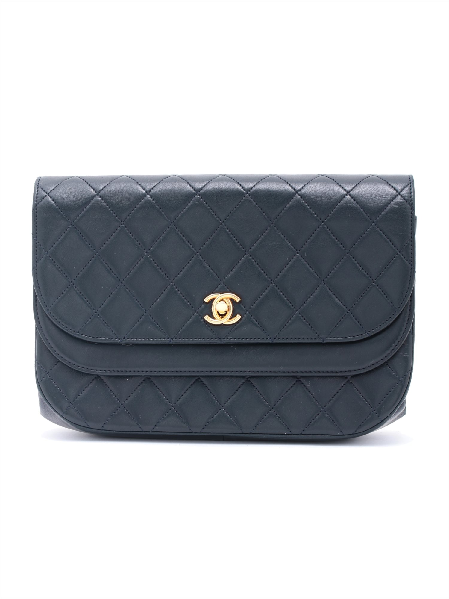 [Used goods] Chanel Deca Matorasse lambskin shoulder bag Navy Gold Hardware 0 Series