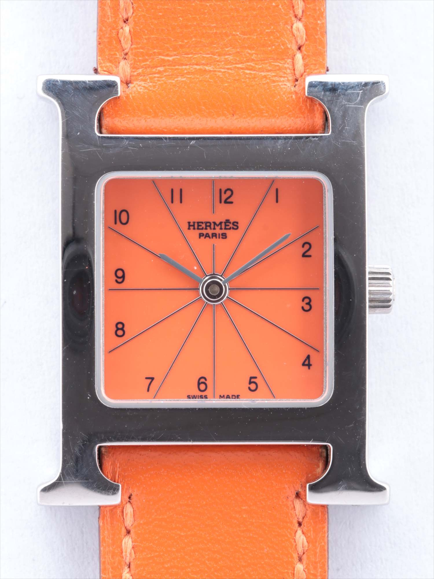 [Used goods] Hermes H watch HH1.210 SS × leather QZ orange dial too Gomanashi G stamp (2003)