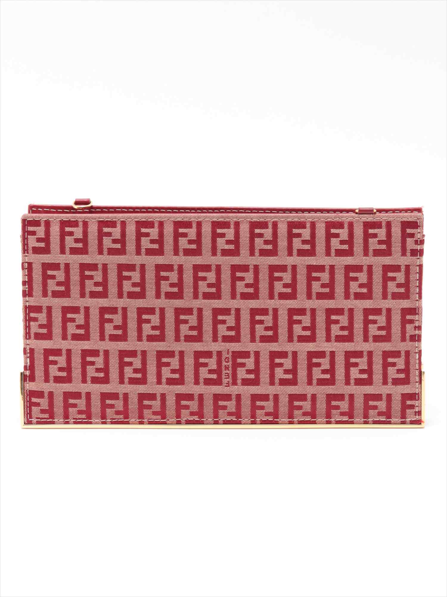 [Used goods] with Fendi Zukkino canvas chain shoulder bag Red chain strap