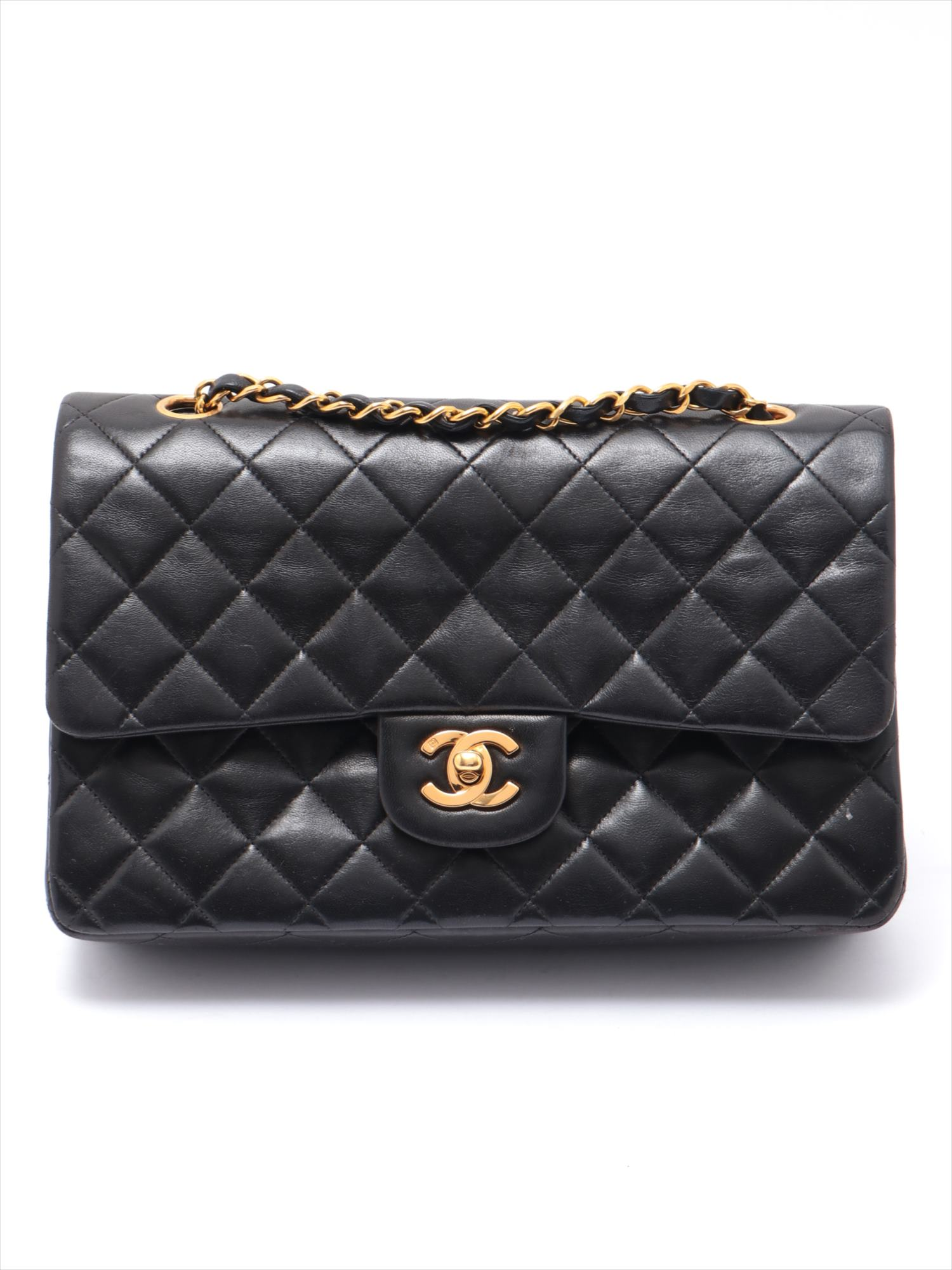 [Used goods] Chanel Matorasse lambskin double flap double chain Tote Bag Black
