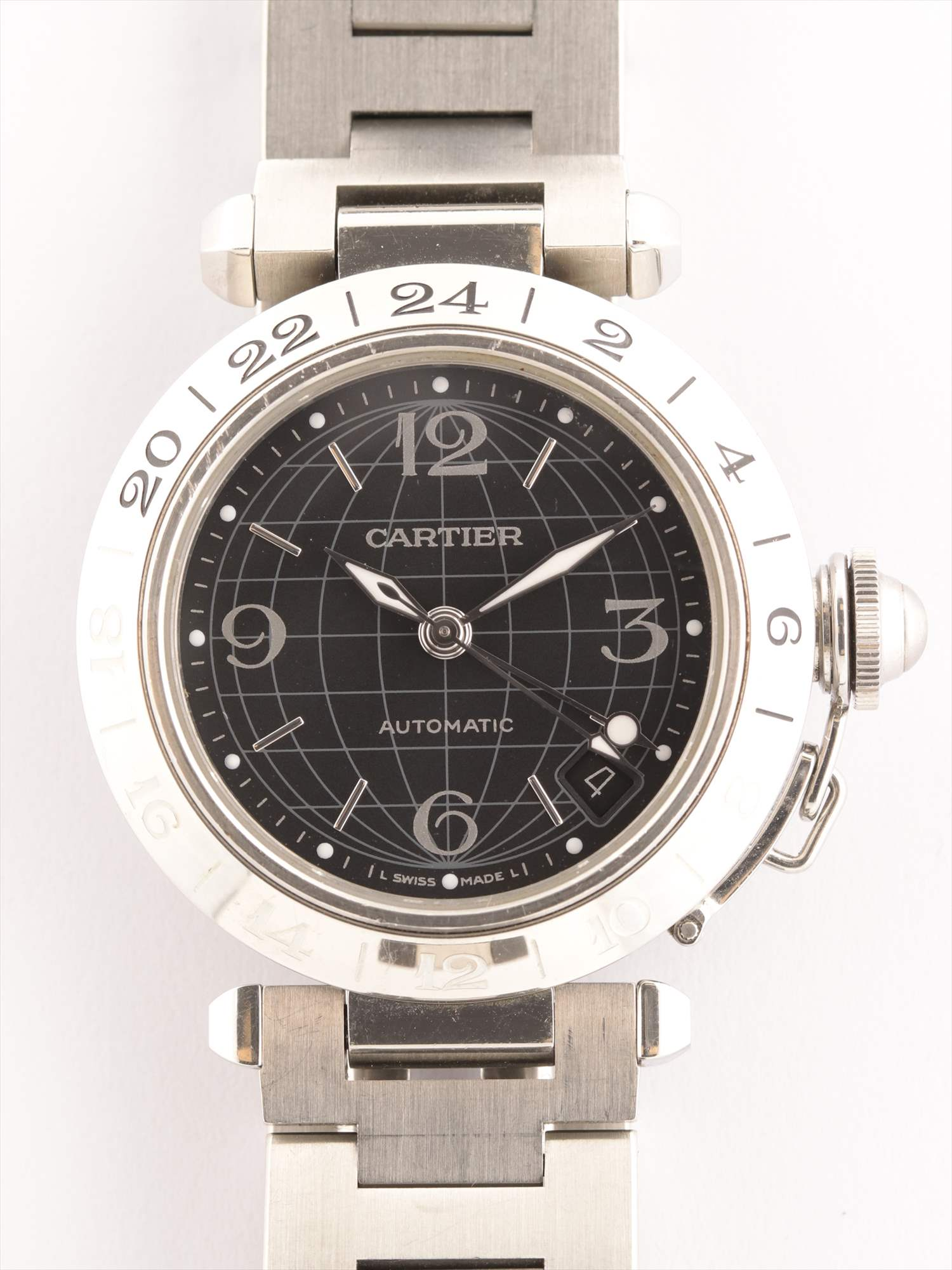 [Used article] Cartier Pasha C Meridian 2377 SS AT black board too much sesame seeds 2