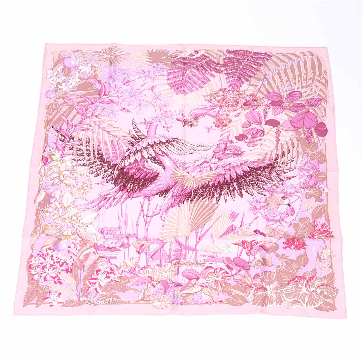 [Used goods] Hermes Carre 90 scarf silk purple Flamingo Party (Flamingo Party)